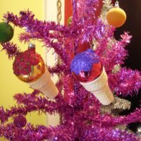 Hot pink Christmas tree with ice cream cone ornaments by Jennifer Perkins