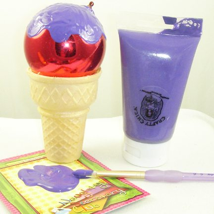 Painting ornaments to look like ice cream cones for ornaments.