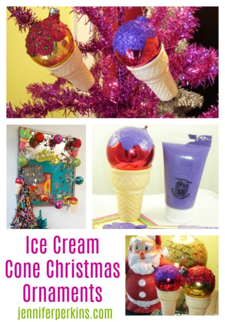 How to make DIY ice cream cone Christmas ornaments by Jennifer Perkins