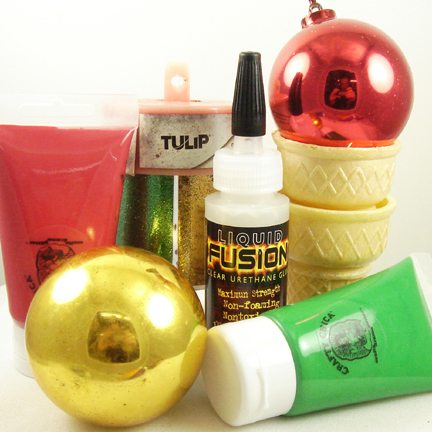 Supplies for making ice cream cone Christmas ornaments
