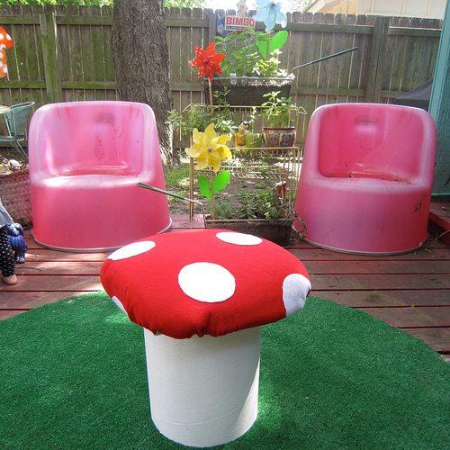 Diy Polka Dotted Mushroom Stool