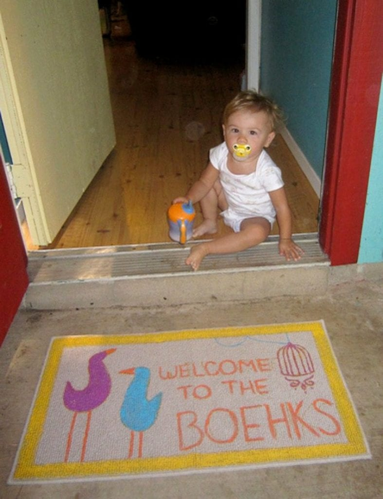 DIY Doormat using an embroidery pattern for the design by Jennifer Perkins
