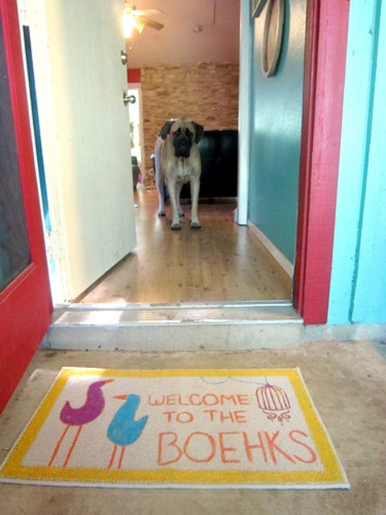 DIY doormat using an embroidery pattern as a template  by Jennifer Perkins
