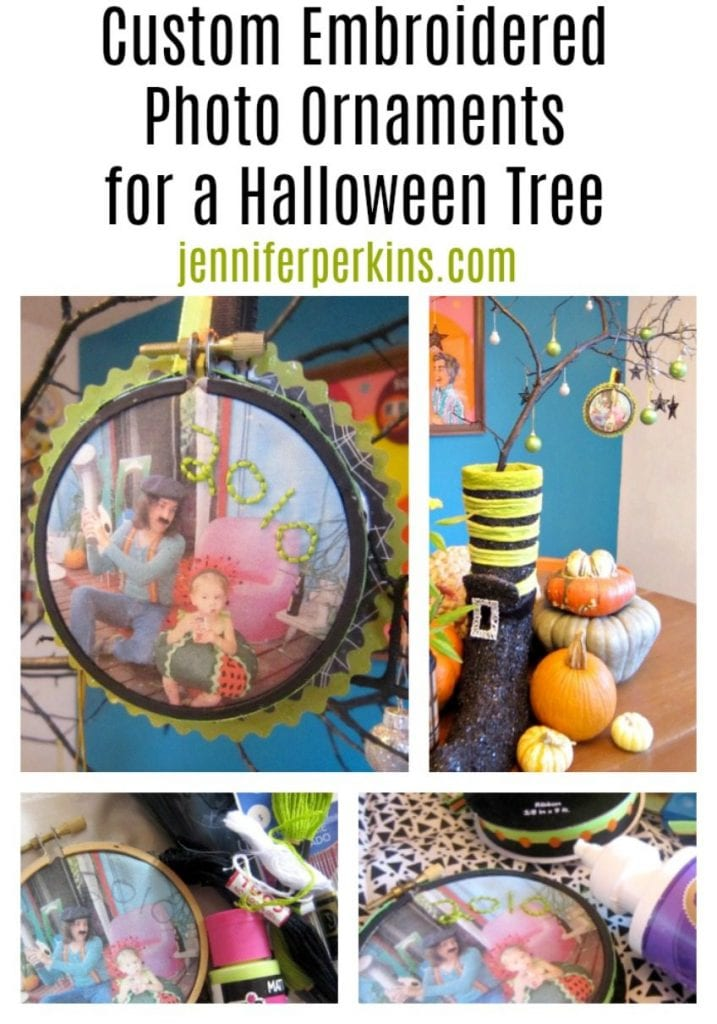 Embroidered photograph ornaments for Halloween by Jennifer Perkins