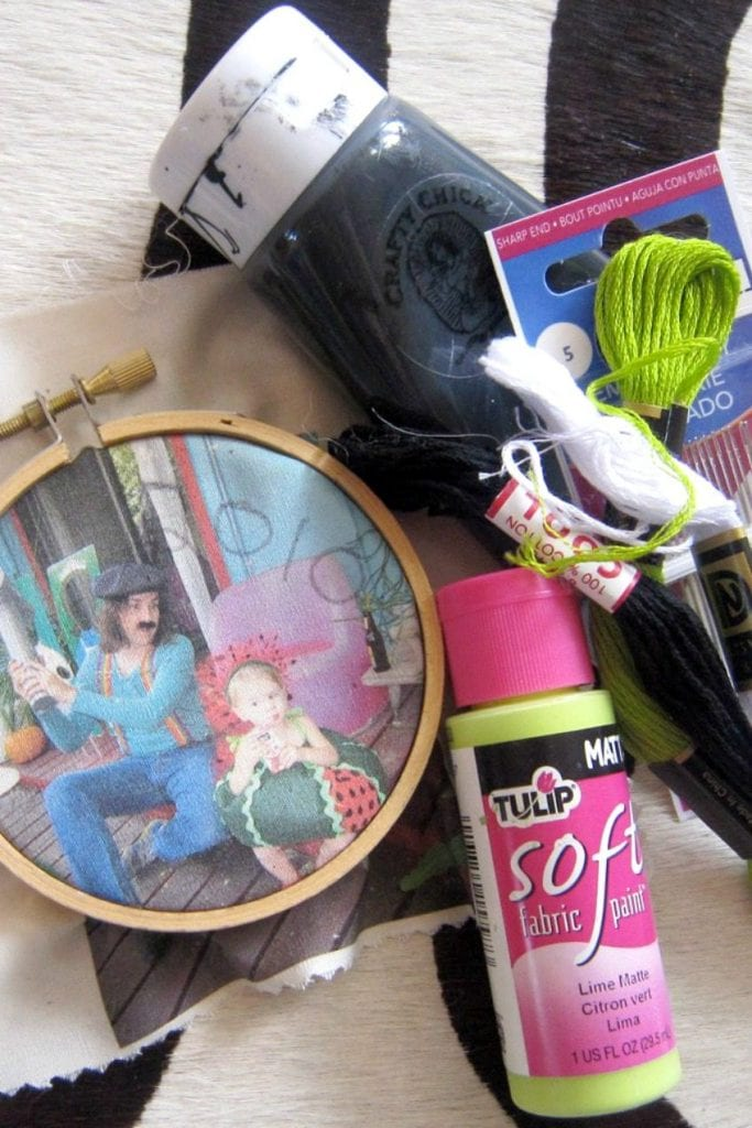 Supplies for embellishing embroidery hoop ornaments.
