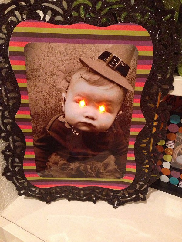 Add glowing eyes to family photos for a spooky Halloween look by Jennifer Perkins