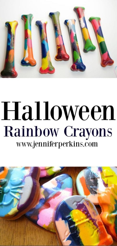 Halloween rainbow crayons in different shapes