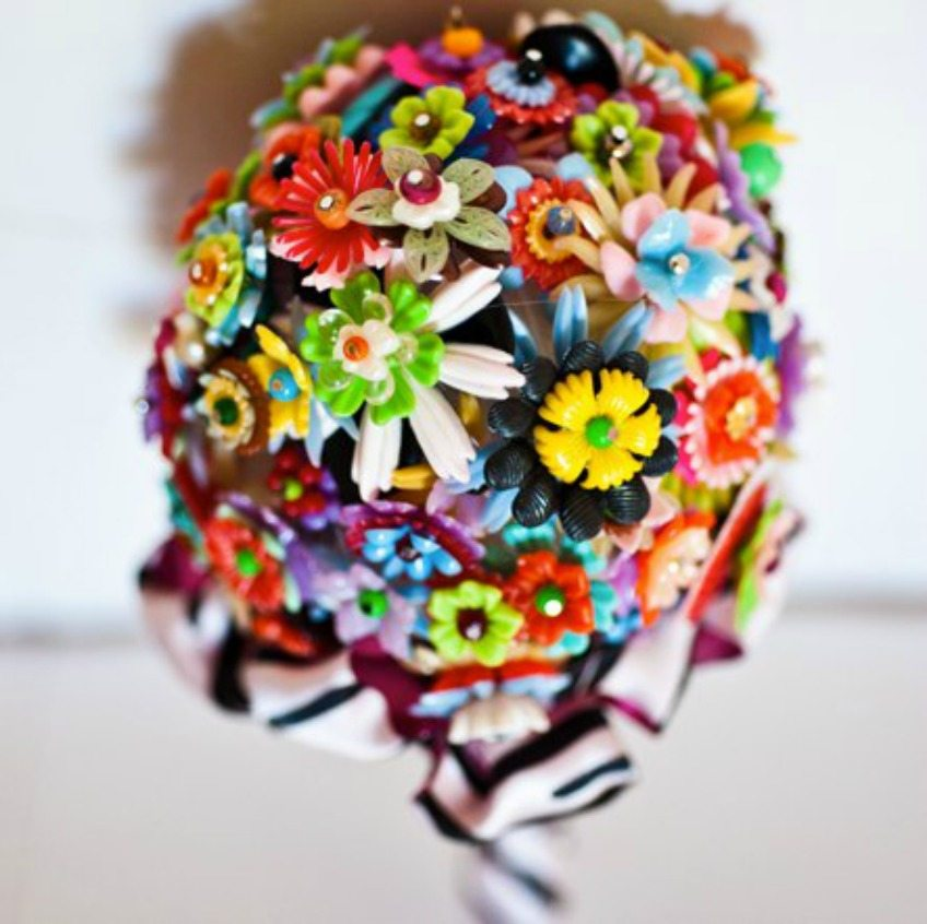 The perfect colorful DIY colorful plastic flower bouquet for an eclectic wedding by Jennifer Perkins