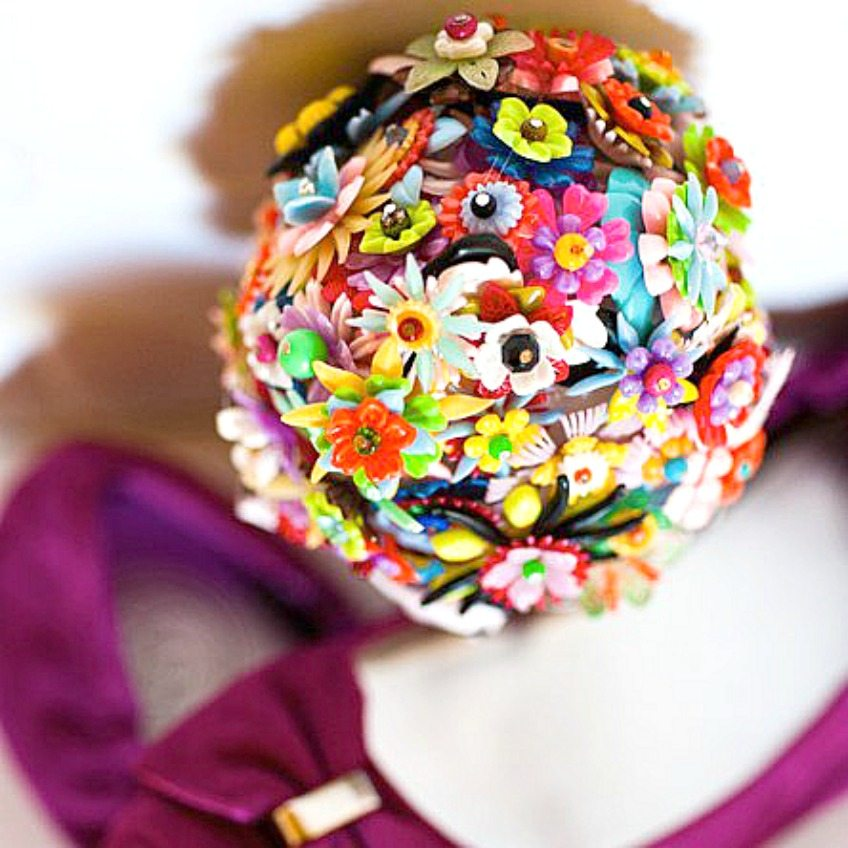 Craft a colorful handmade bridesmaid bouquet from vintage plastic flower parts by Jennifer Perkins