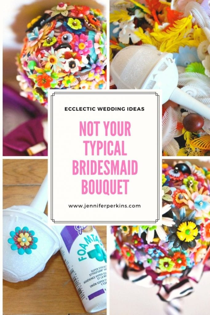 How to DIY your own colorful bridesmaid bouquet for that not so typical eclectic wedding by Jennifer Perkins