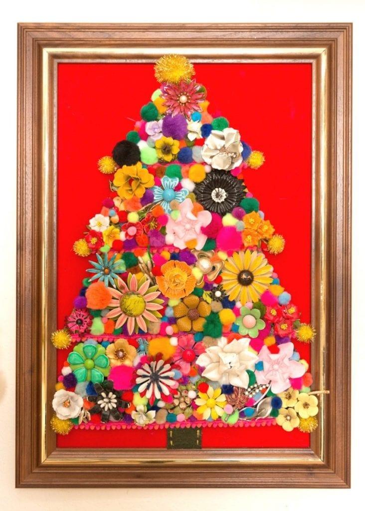 How to make a jewelry tree for Christmas using kitschy vintage metal flower brooches by Jennifer Perkins