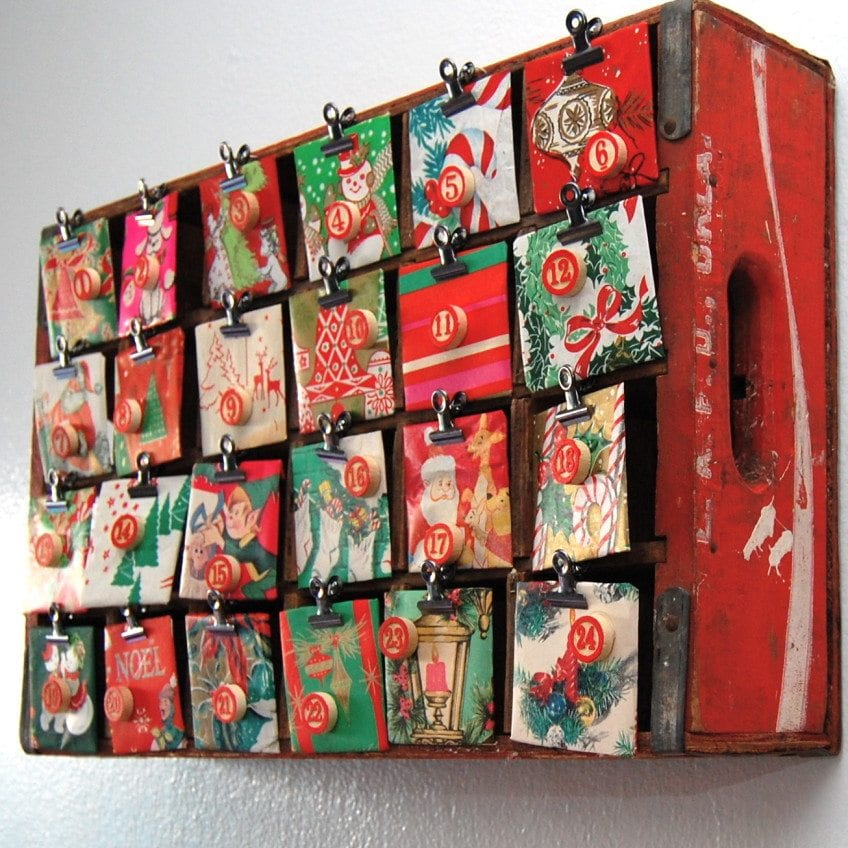 Transform a soda crate into an advent.