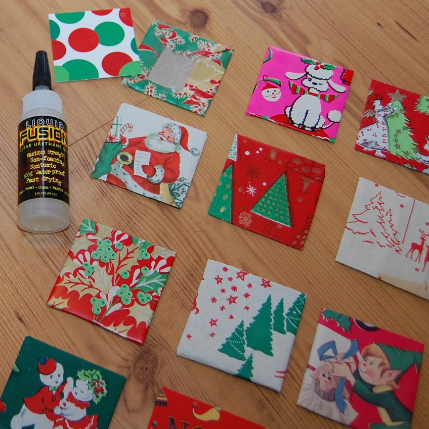 Advent calendar with vintage wrapping paper.