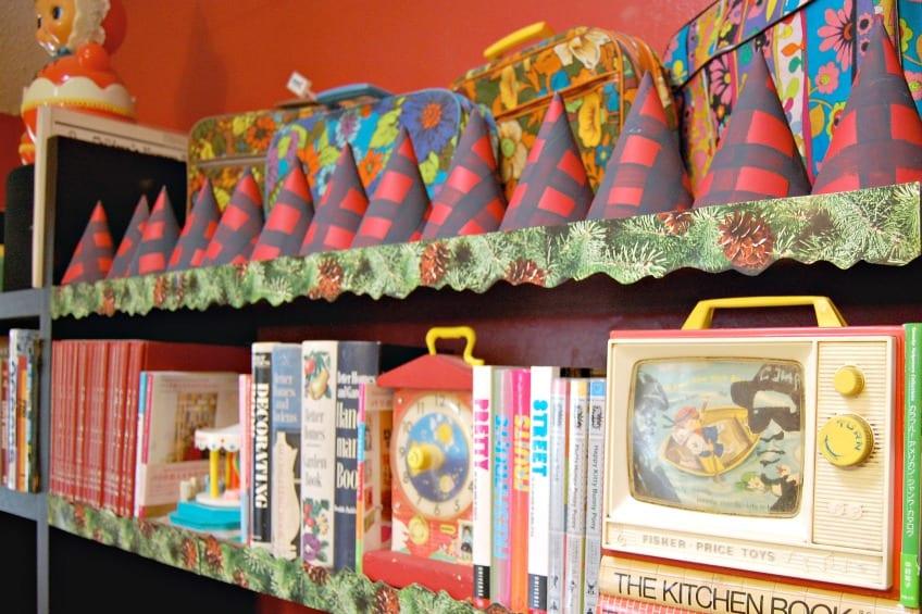 Buffalo plaid party hats on a shelf