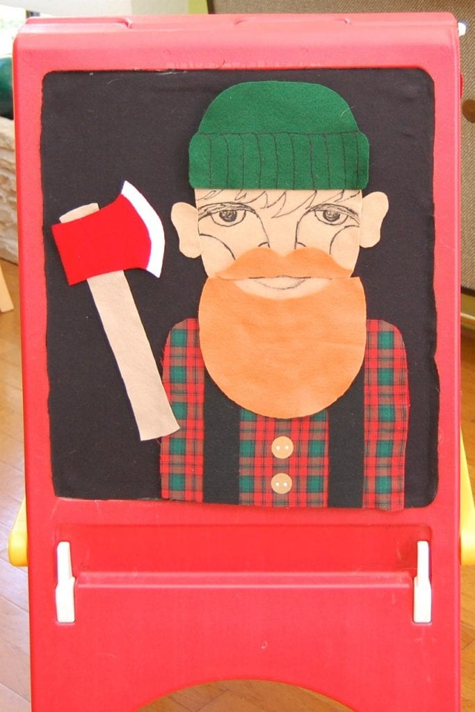 Felt and wool board with pin the beard on the lumberjack game