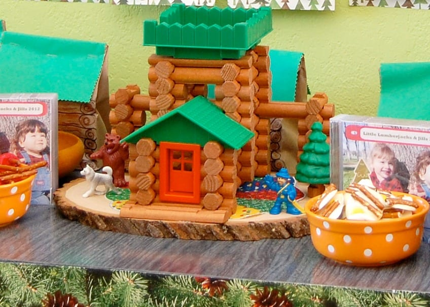 Lincoln log cabin party centerpiece
