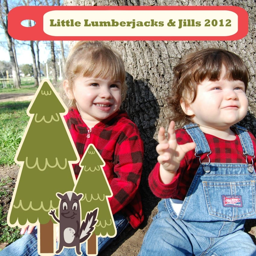 Party invitation with two kids that reads: Little Lumberjills and Jacks