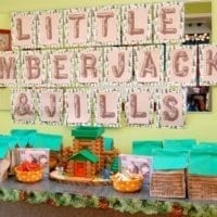 Little lumberjacks and jills party banner