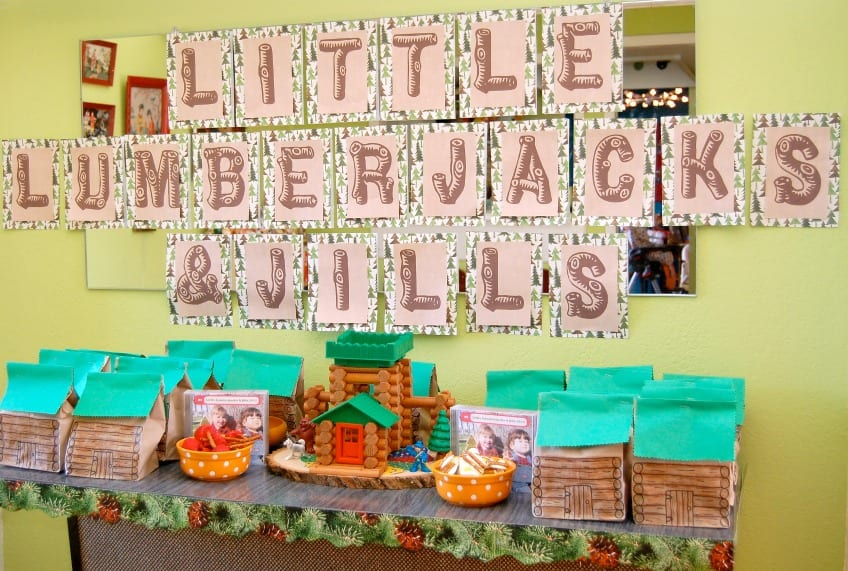 Little lumberjacks and jills party banner