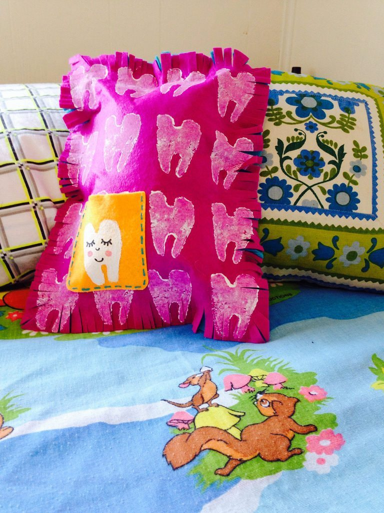 Easy DIY felt potato stamped tooth fairy pillow.