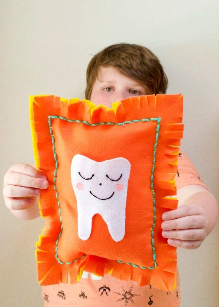 A felt tooth fairy pillow that kids can sew themselves by Jennifer Perkins