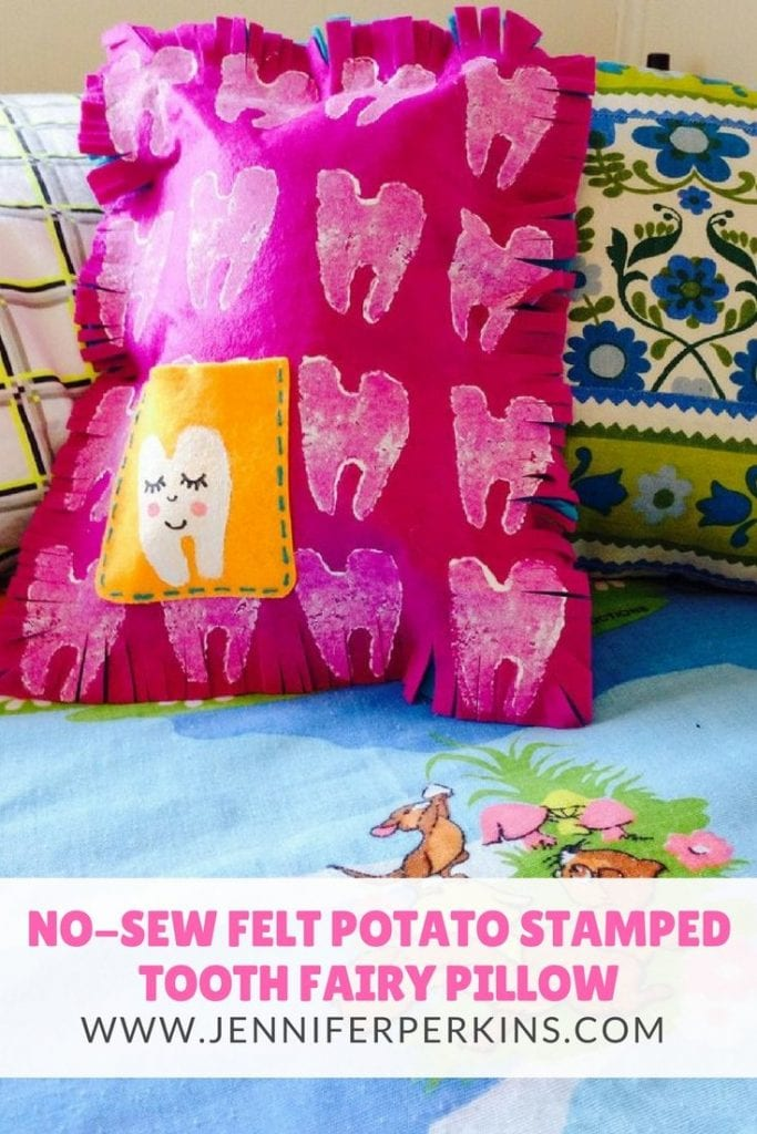Help kids make their own no-sew felt tooth fairy pillow complete with potato stamping by Jennifer Perkins