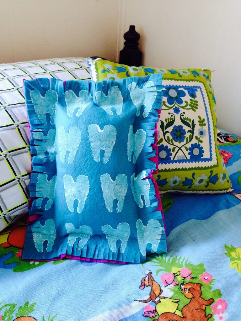 Potato stamped tooth fairy pillow.