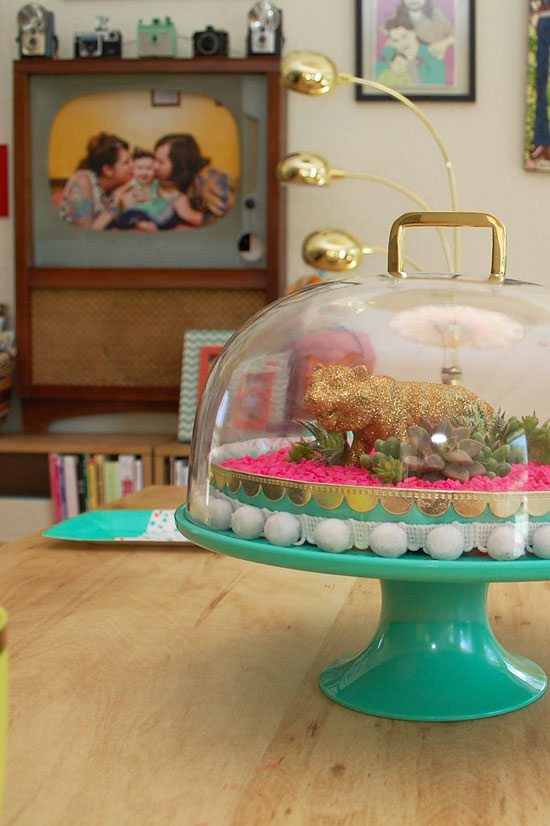 How to make a cake stand into a DIY terrarium by Jennifer Perkins