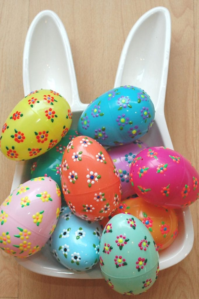 DIY puffy paint floral Easter eggs