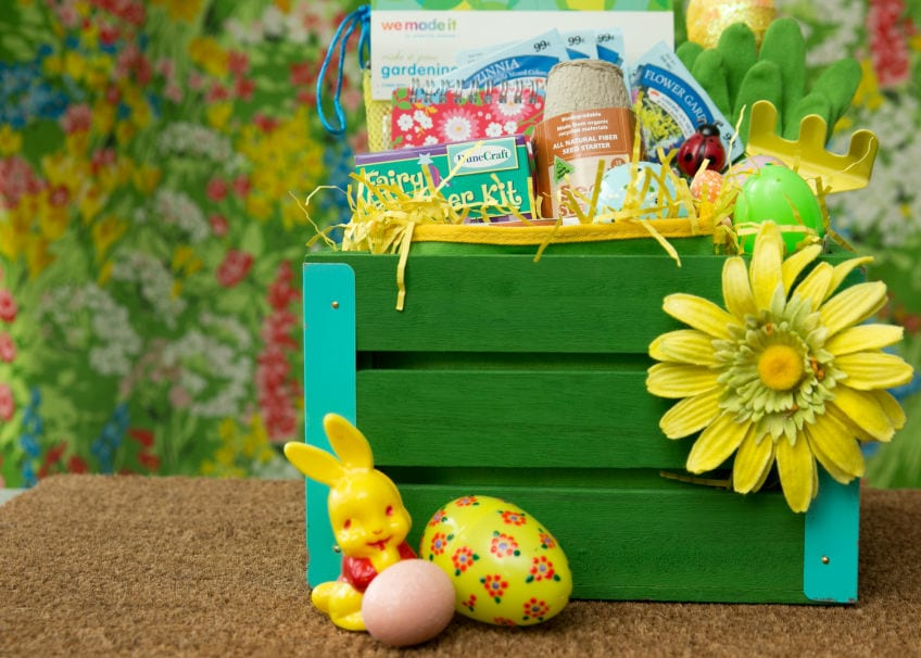Easter basket with a garden theme