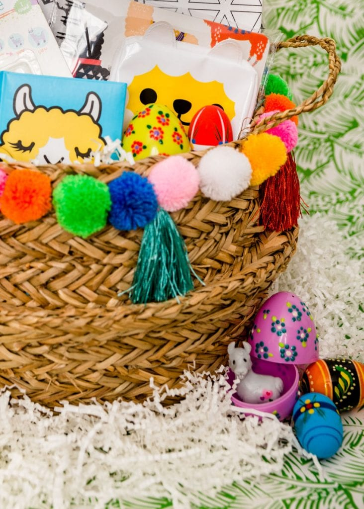 llama themed Easter basket with Puffy Paint floral Easter eggs