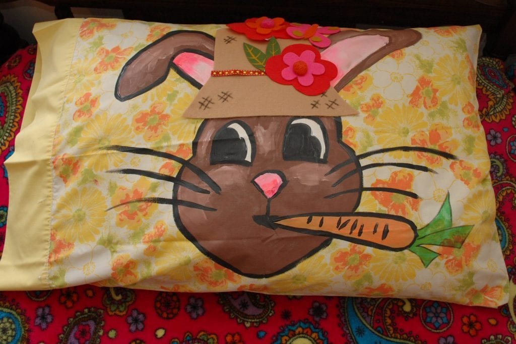 DIY painted Easter bunny pillowcase by Jennifer Perkins