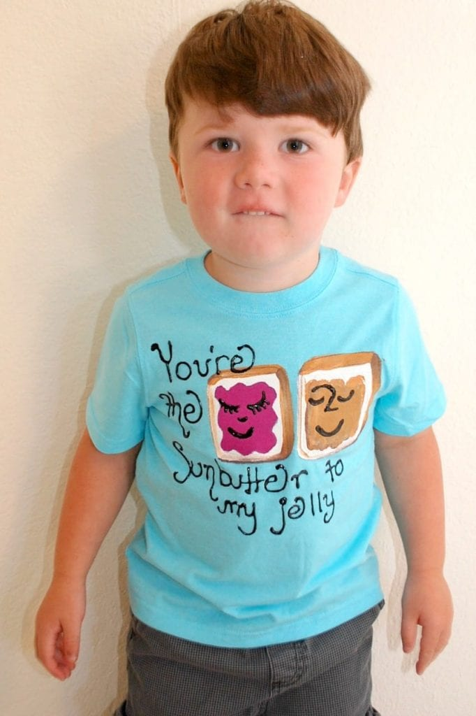 Sunbutter and Jelly T-shirt in blue on a boy.