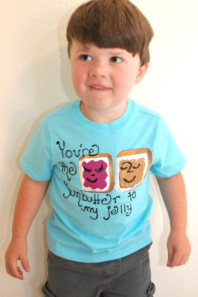 Boy in food allergy awareness T-shirt