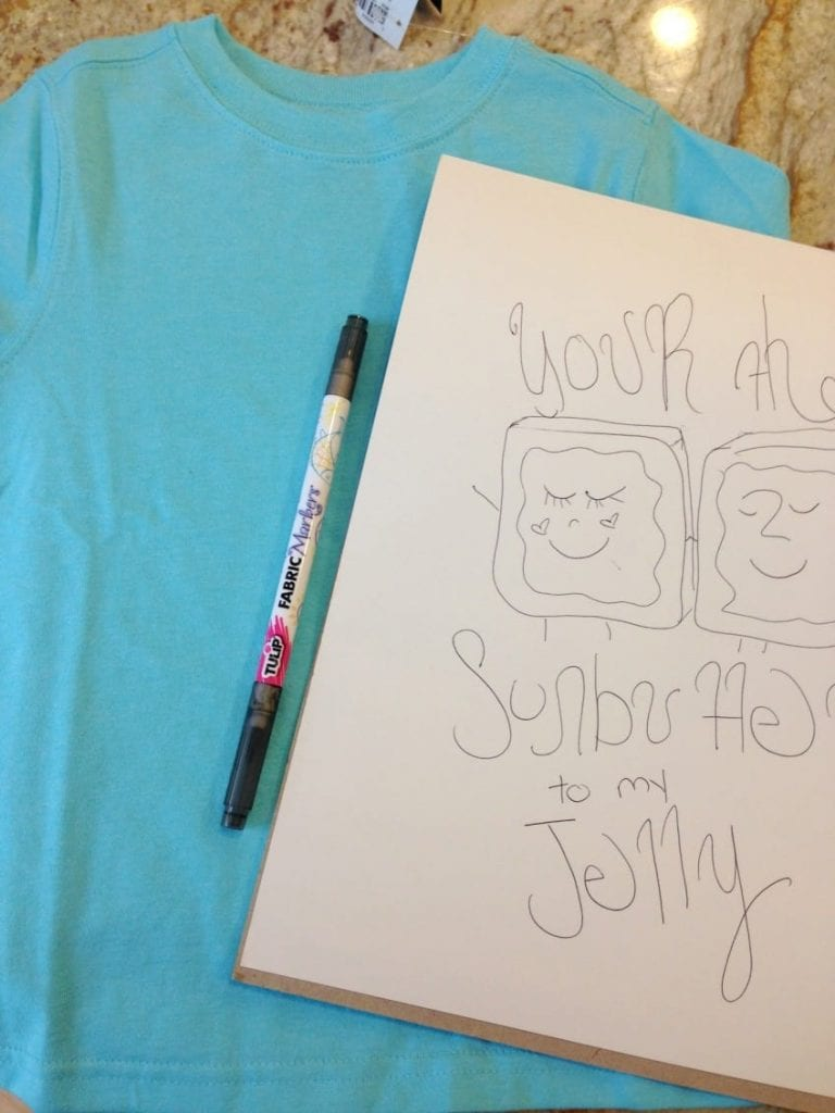 Drawing out design for T-shirt