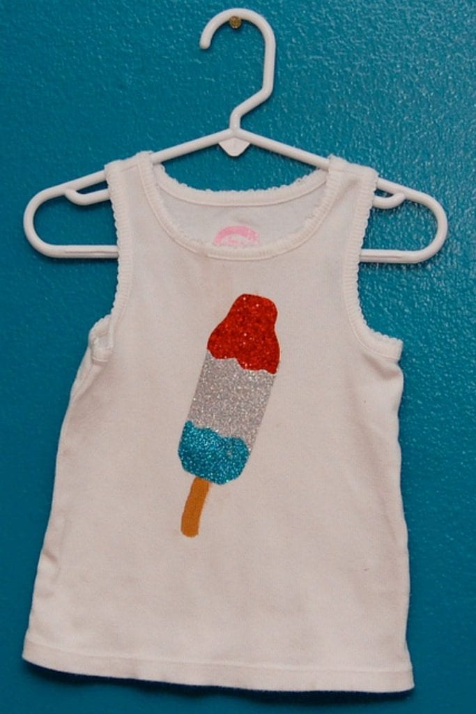 How to make a glittered bomb pop shirt by Jennifer Perkins