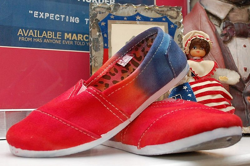 Dying shoes red, white and blue by Jennifer Perkins