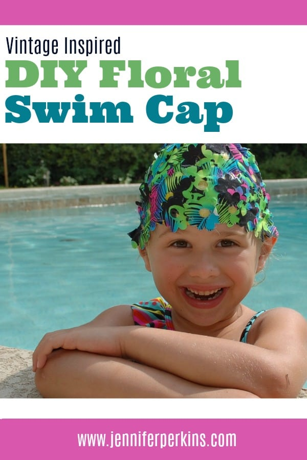 DIY floral swim cap on a girl in a pool