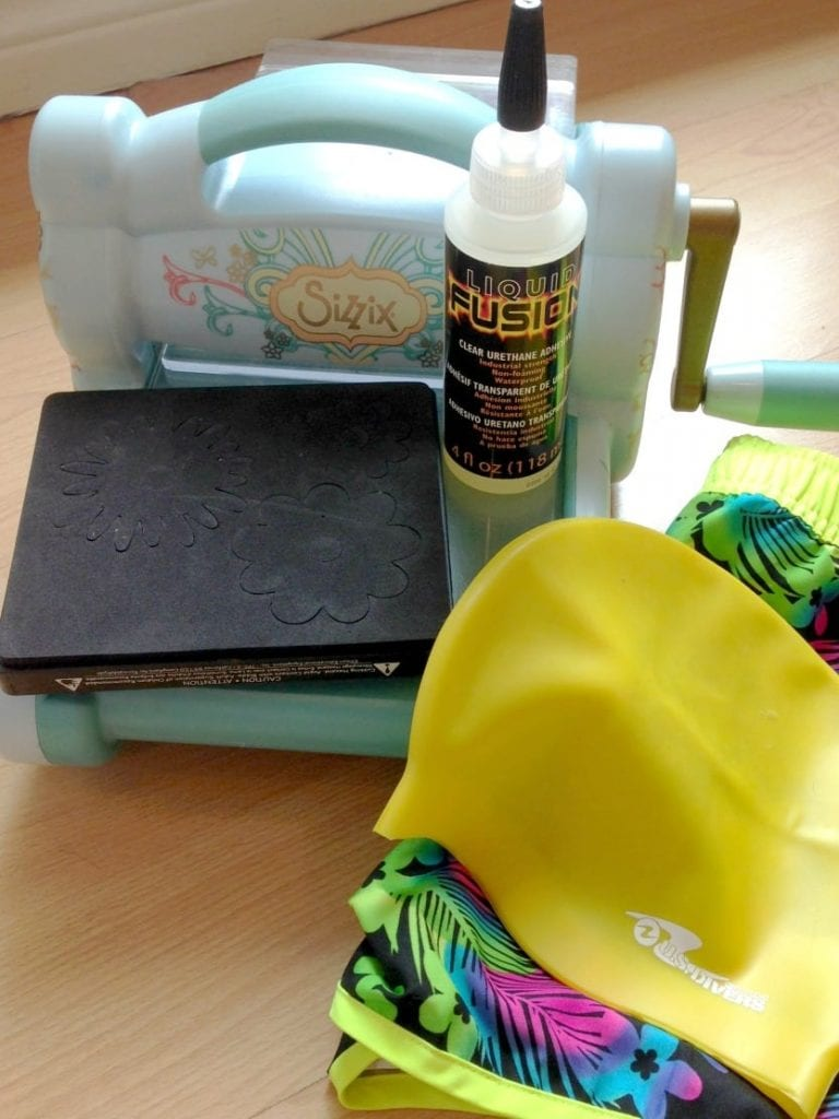 Craft supplies for making a floral swim cap