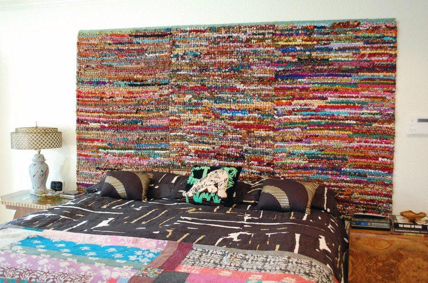 DIY Rag Rug Headboard by Jennifer Perkins