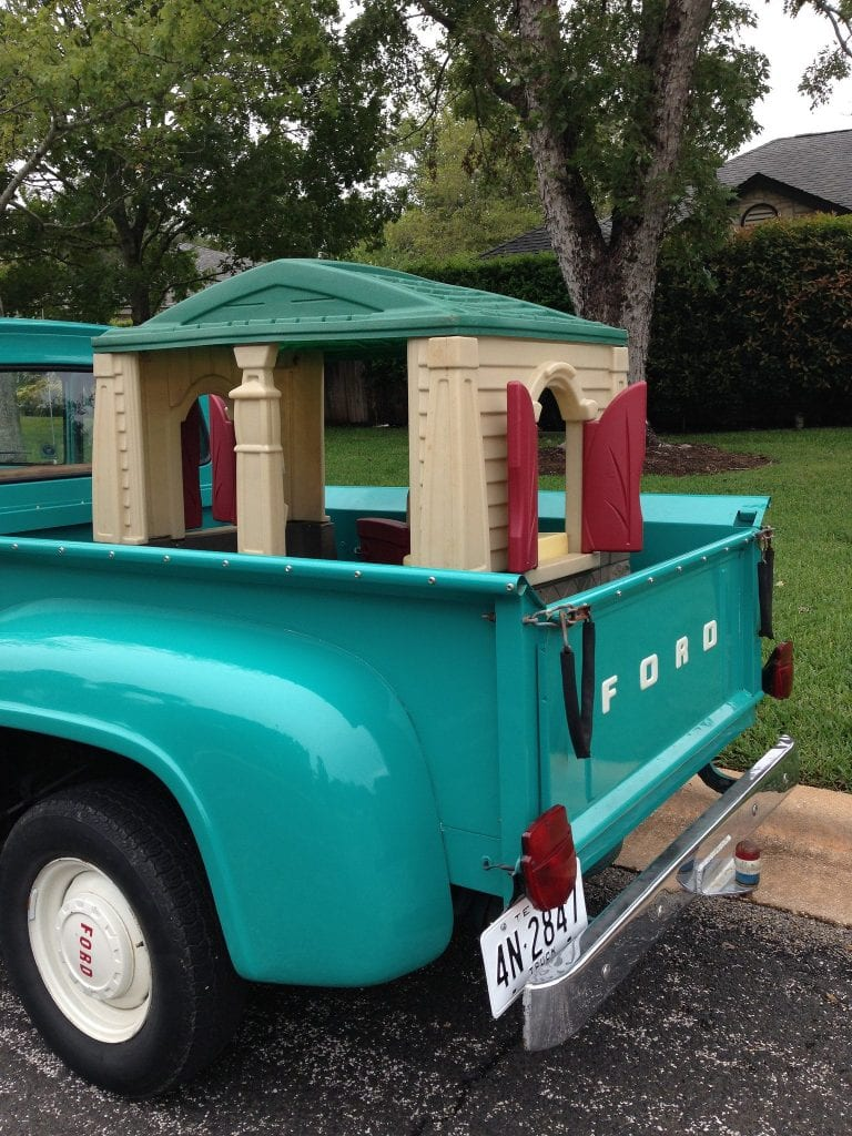 playhouse in a blue truck
