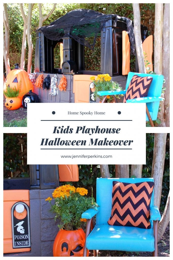 Kids playhouse makeover with a Halloween theme.