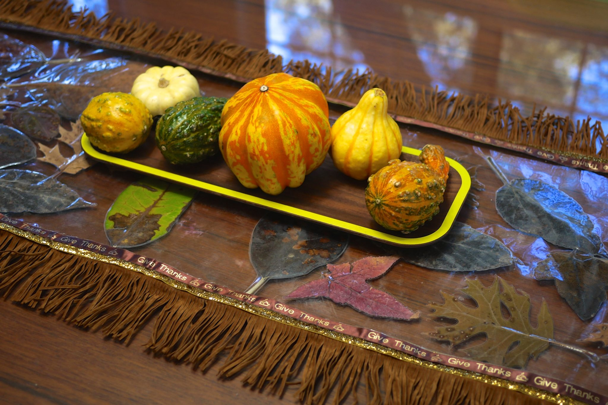 DIY Fall leaves themed table runner by Jennifer Perkins