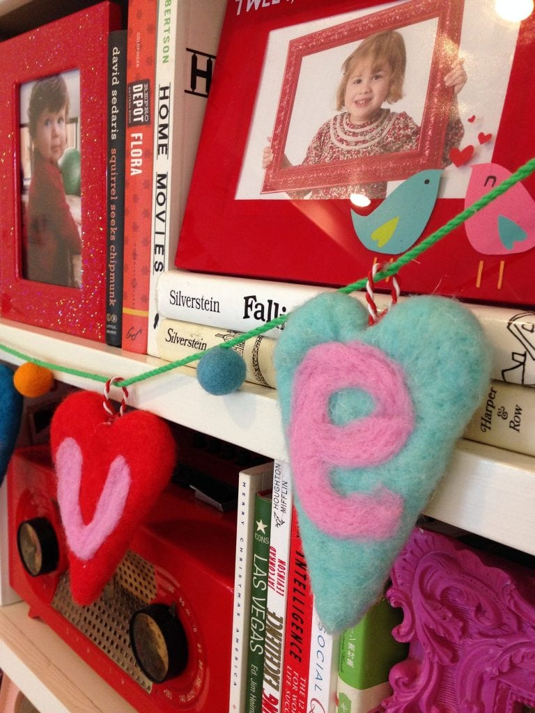 DIY needle felted Valentine's Day banner by Jennifer Perkins
