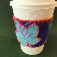 How to make an easy DIY flannel and felt coffee sleeve by Jennifer Perkins