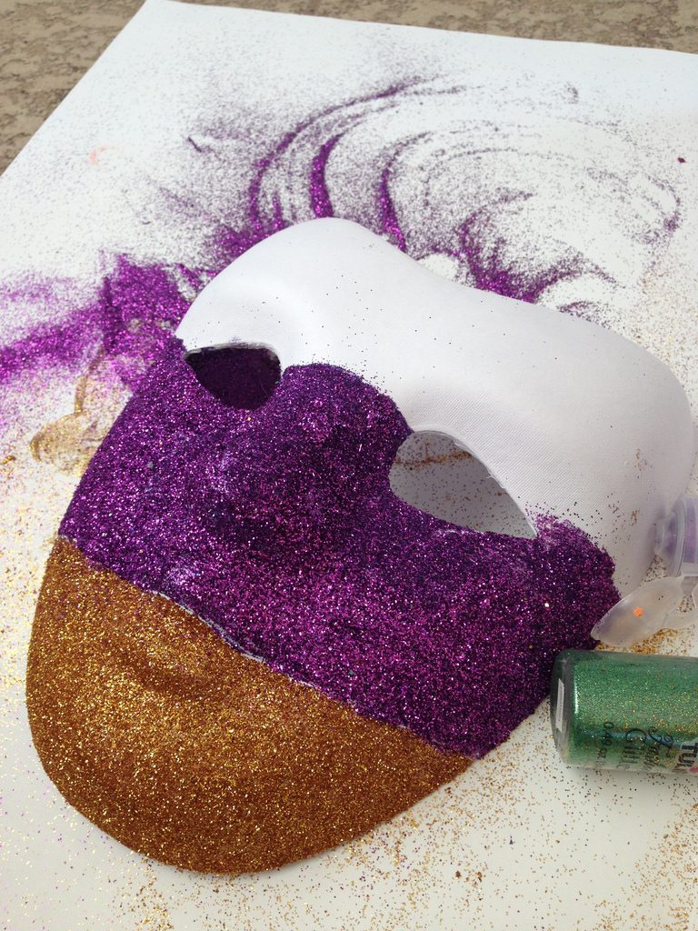Glittered mask for a Mardi Gras tree topper by Jennifer Perkins