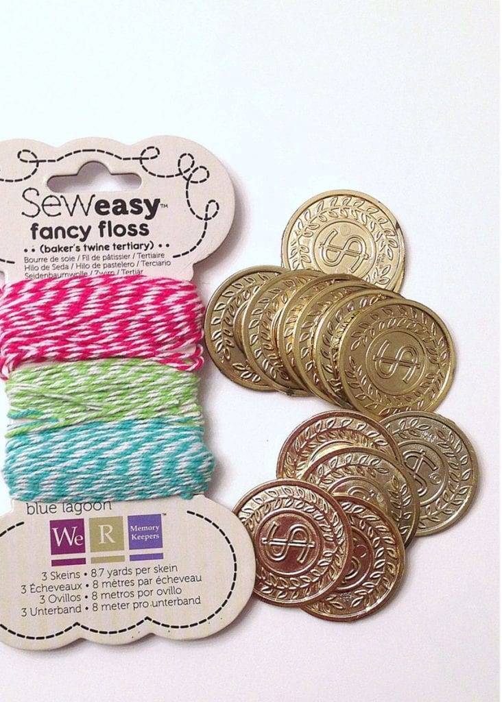 Gold coin and twine