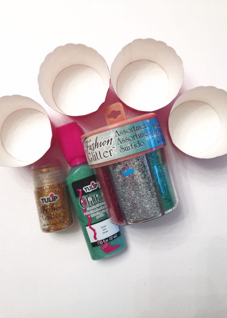 cupcake liners and glitter