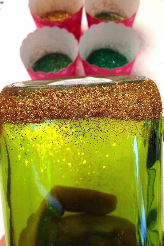 Adding a layer of glitter onto a mug