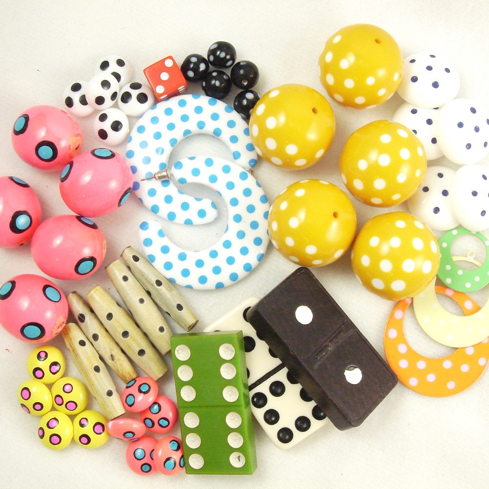 Vintage polka dot beads from Jennifer Perkins.